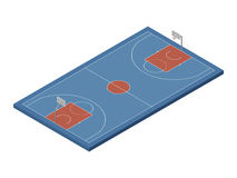 3D isometric basketball court, vector isolated design element. 3D isometric basketball court with official dimensions, blue & orange colors. Sport theme vector Stock Photography