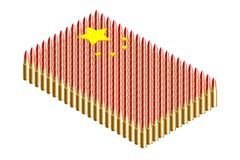 3D Isometric bullet, China national flag shape concept design illustration. Isolated on white background vector illustration