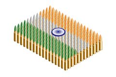 3D Isometric bullet, India national flag shape concept design illustration. Isolated on white background vector illustration