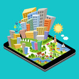 3d isometric city with the specified destination point on the tablet screen. City navigation app. Vector illustration Stock Photos