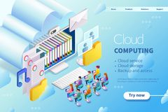 3d isometric cloud computing stock illustration