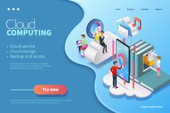 3d isometric cloud computing royalty free illustration