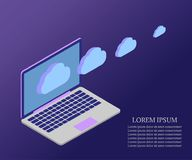 Laptop, 3D Isometric, cloud 1 blue gr. 3D Isometric concept of laptop with cloud storage information. Business analysis or review flat illustration with laptop Stock Photo