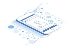 3D isometric concept. Line art Photo camera on a white background. Vector illustration EPS 10.  Stock Images