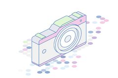 3D isometric concept. Line art Photo camera on a white background. Vector illustration EPS 10.  Stock Photo