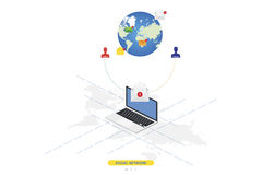 3D isometric concept. New message notification icon in laptop against the background of the world map. Vector illustration EPS 10 Stock Image