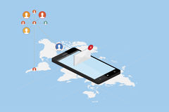 3D isometric concept. New message notification icon in smartphone against the background of the world map. Vector illustration EPS Royalty Free Stock Images