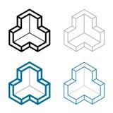 3D isometric empty room corner symbol. Illustration for the web Stock Photos