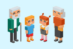 3d isometric family couple children kids people concept flat icons flirting love first date parenting together vector. 3d isometric family couples children, kids Royalty Free Stock Photos