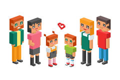 3d isometric family couple children kids people concept flat icons flirting love first date parenting together vector. 3d isometric family couples children, kids Royalty Free Stock Image