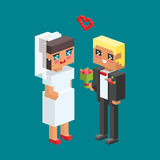 3d isometric family couple children kids people concept flat icons flirting love first date wedding parenting together. 3d isometric family couples children Royalty Free Stock Photography
