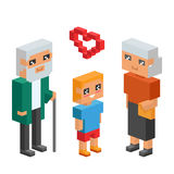 3d isometric family couple children kids people concept flat icons flirting love first date wedding parenting together. 3d isometric family couples children Stock Photography