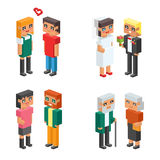 3d isometric family couple children kids people flat icons flirting love first date wedding parenting together vector. 3d isometric family couples children, kids Stock Photo