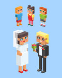 3d isometric family couple children kids people flat icons flirting love first date wedding parenting together vector. 3d isometric family couples children, kids Stock Photos