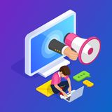 3d Isometric flat customer engagement or advertising concept. Megaphone in hand out computer screen. Man works at laptop stock illustration