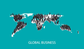3d isometric illustration of business people standing on the world global map shape. global business cooperation concept. Stock Images