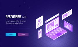 3D isometric illustration of laptop with browser window for Resp. Onsive Web landing page design Royalty Free Stock Image