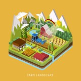 3d isometric infographic for adorable farm landscape Royalty Free Stock Photo