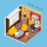 3d isometric infographic for cozy work space Stock Image