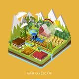3d isometric infographic dla uroczego gospodarstwo rolne krajobrazu ilustracja wektor