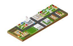 Isometric landscape of a small town Stock Images