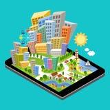 3d isometric miasto z precyzującym miejsce przeznaczenia punktem na pastylka ekranie Zdjęcia Stock