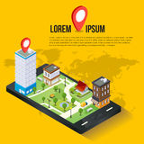 3d isometric mobile GPS navigation concept. Smartphone with city map application and marker pin pointer Stock Images