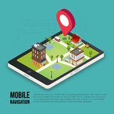 3d isometric mobile GPS navigation concept. Smartphone with city map application and marker pin pointer Royalty Free Stock Photography