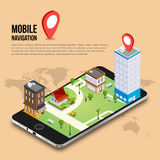 3d isometric mobile GPS navigation concept Royalty Free Stock Photography