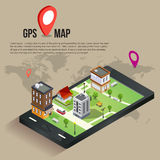 3d isometric mobile GPS navigation concept Royalty Free Stock Photo