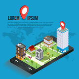 3d isometric mobile GPS navigation concept. Smartphone with city map application and marker pin pointer, vector Stock Photography