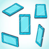 3d isometric mobile phone design in flat style Stock Image