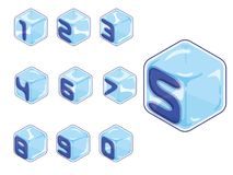 Numbers ice cubes style on white background. 3d isometric numbers. 123 ice cubes style on white background. Letters. vector typography for headlines, posters etc Stock Photography