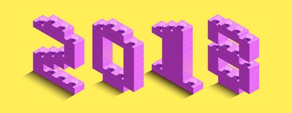 3d isometric pink numbers from lego brick on yellow background. 3d text about new year. 3d Stock Photo