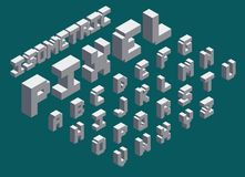 Isometric pixel fonts. 3d isometric pixel font set vector illustration