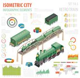 3d isometric retro railway with steam locomotive and carriages. City map constructor elements. Build your own infographic collection. Vector illustration Stock Photos