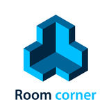 3D isometric room corner blue symbol. Illustration for the web Stock Image