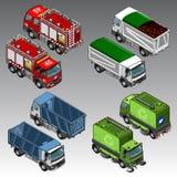 3d isometric samochody ustawiający Zdjęcie Royalty Free