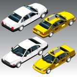 3d isometric samochody ustawiający Obrazy Royalty Free