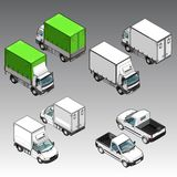 3d isometric samochody ustawiający Fotografia Royalty Free
