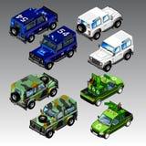 3d isometric samochody ustawiający Zdjęcie Stock