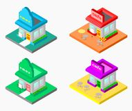 3d isometric shop and cafe vector illustration