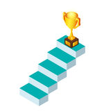 3d Isometric. stairs step to trophy and success. Business success concept. Cartoon Vector Illustration Stock Image