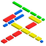 3D isometric toy plastic blocks. Royalty Free Stock Image