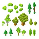 3D isometric trees vector illustration of plastic construction tree and hedges icons royalty free illustration