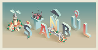 3d isometric typograficzny Istanbul Zdjęcie Stock