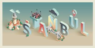 3d isometric typographic istanbul. Postcard Stock Photo