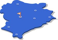 3d isometric view map of Belarus with blue surface and cities. Isolated, white background Royalty Free Stock Images