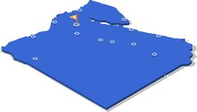 3d isometric view map of Egypt with blue surface and cities. Isolated, white background Stock Photo