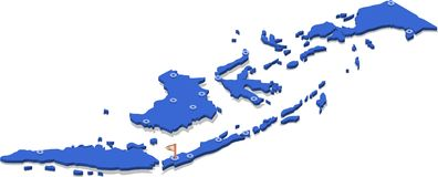 3d isometric view map of Indonesia with blue surface and cities. Stock Illustration
